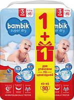 Подгузники детские Bambik Mega Midi 3 (4-9 кг), 90 шт, фото 1