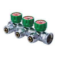 KOER KR.1122-3 1 x3 WAYS Коллектор вентильный с фитингом (20 шт/ящ)