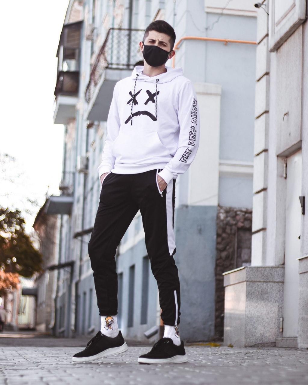 Мужской спортивный костюм jet-Lil Peep белый, худи - штаны на манжете лето/весна/осень M