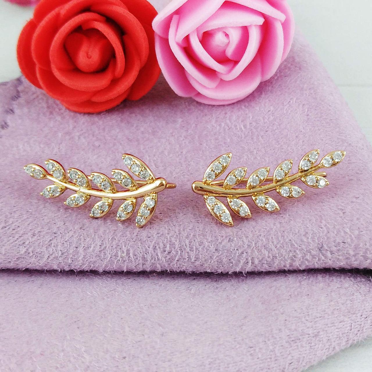 Серьги каффы Xuping Jewelry медицинское золото позолота 18К А/В 1-0185