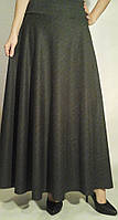 Зимняя юбка макси в пол французский трикотаж меланж