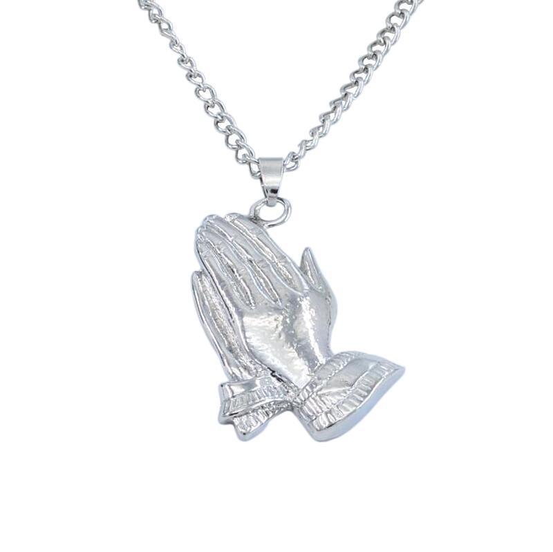 Серебренная цепочка на шею с кулоном молящие руки в стиле Drake OVO