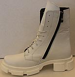 Ботинки зимние белые кожаные женские от производителя модель ЛИ332-1, фото 3