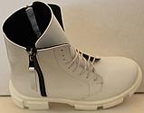 Ботинки зимние белые кожаные женские от производителя модель ЛИ332-1, фото 5