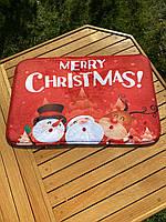 Новогодний коврик для дома с принтом Снеговика, фото 3