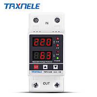 Реле напряжения и тока TAXNELE TVPS1-63B. 220V/63A защитное реле