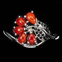 Оригинальное  кольцо  с красным кораллом и черной шпинелью  , размер 18.6, фото 1