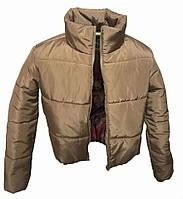 Коротка бежева куртка з капюшоном, осінь/зима розміри 42 - 48