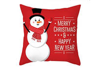 Новогодняя наволочка для подушки с принтом Снеговика
