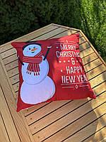 Новогодняя наволочка для подушки с принтом Снеговика, фото 2