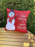 Новогодняя наволочка для подушки с принтом Снеговика, фото 3