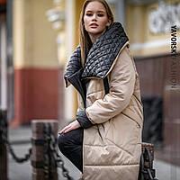 Зимнее теплое стеганое пальто пуховик плащ оверсайз.