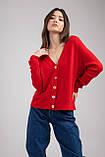 Трикотажная женская кофта-кардиган с цветными пуговицами микс цветов в размерах S/M и L/XL, фото 6