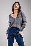 Трикотажная женская кофта-кардиган с цветными пуговицами микс цветов в размерах S/M и L/XL, фото 10