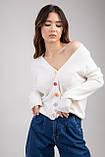 Трикотажная женская кофта-кардиган с цветными пуговицами микс цветов в размерах S/M и L/XL, фото 4