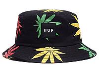 Панама HUF чёрная (панамка хуф с разноцветными листьями марихуаны мужская женская)