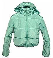 Короткая куртка с капюшоном,  мятная осень/зима размеры 42 - 48