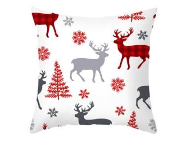 Новогодняя наволочка для подушки с принтом Оленей