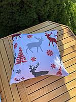 Новогодняя наволочка для подушки с принтом Оленей, фото 3