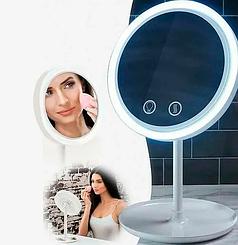 Настольное косметическое зеркало с LED подсветкой и вентилятором для макияжа HLV Beauty Breeze White
