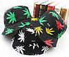 Панама HUF чёрная (панамка хуф с зелёными листьями марихуаны мужская женская), фото 3