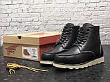 🔥 Ботинки мужские Red Wing Stitch зимние кожаные на меху теплые черные, фото 2