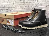🔥 Ботинки мужские Red Wing Stitch зимние кожаные на меху теплые черные, фото 6