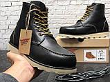 🔥 Ботинки мужские Red Wing Stitch зимние кожаные на меху теплые черные, фото 7