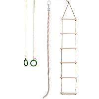 Навесной набор для шведской стенки (кольца, канат,веревочная лестница)