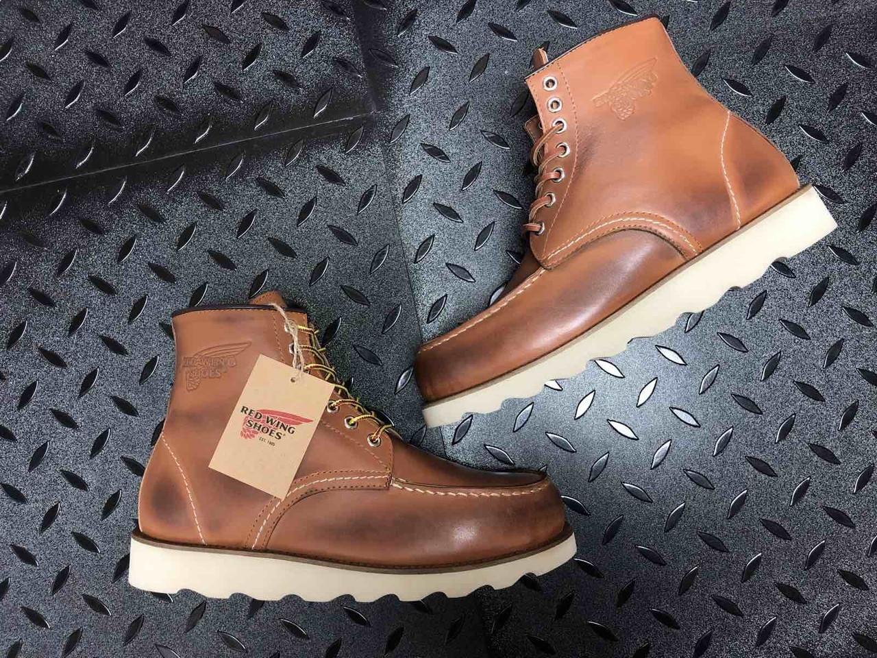 🔥 Ботинки мужские Red Wing Stitch демисезонные кожаные термо теплые коричневые