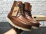 🔥 Ботинки мужские Red Wing Stitch демисезонные кожаные термо теплые коричневые, фото 3