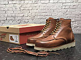 🔥 Ботинки мужские Red Wing Stitch демисезонные кожаные термо теплые коричневые, фото 5