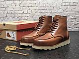 🔥 Ботинки мужские Red Wing Stitch демисезонные кожаные термо теплые коричневые, фото 6
