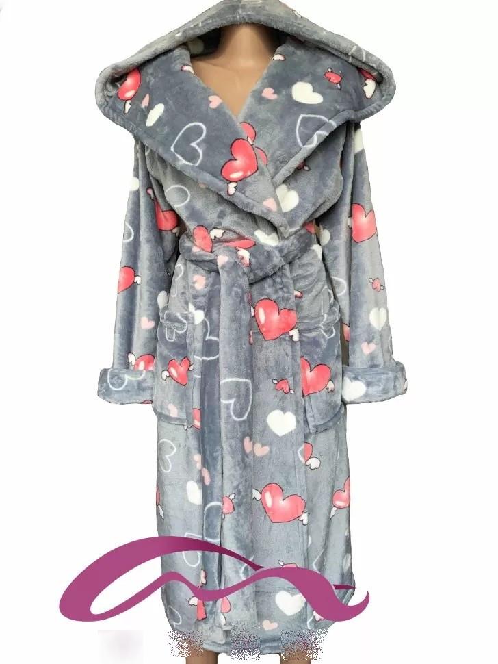Тёплый молодёжный махровый халат с капюшоном  с 42 по 60 размер