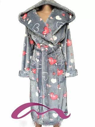 Тёплый молодёжный махровый халат с капюшоном  с 42 по 60 размер, фото 2