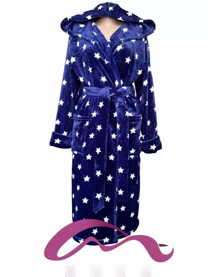 Тёплый молодёжный махровый халат с капюшоном синий в звёздах   с 42 по 60 размер