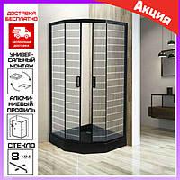 Пятиугольная душевая кабина 90x90 см без поддона Asignatura 69020802. Душевая кабина черная