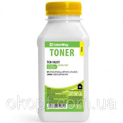 Тонер HP CLJ CP1025/Pro100/M175 Yellow 30g ColorWay (TCH-1025Y)