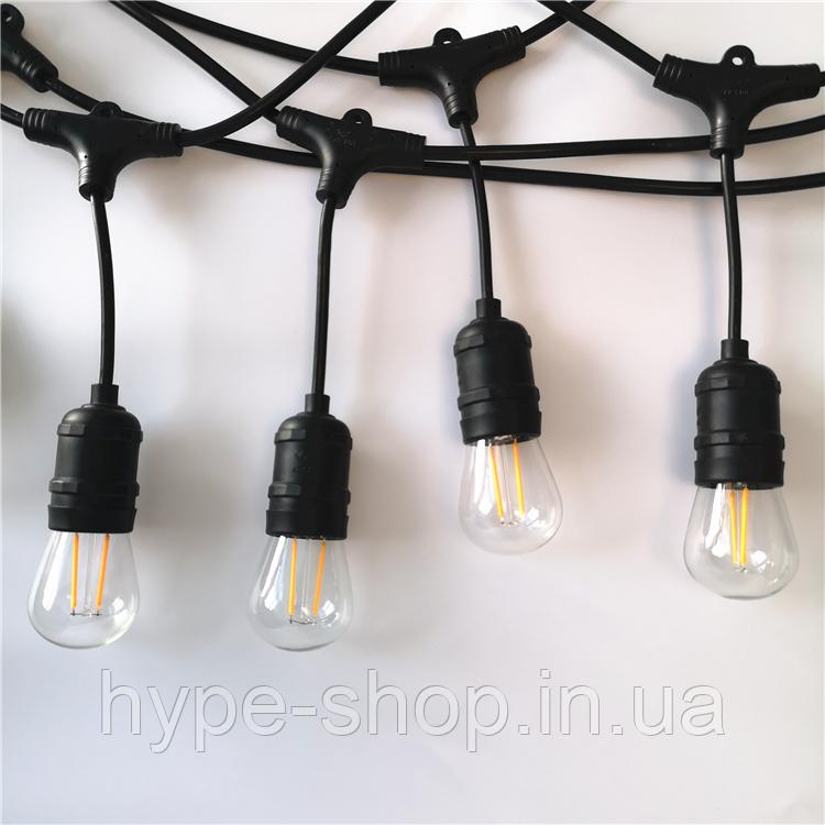 Уличная гирлянда с ретро лампами LED Edison 15шт, 15метров с переходником