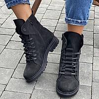 Ботинки женские кожаные зимние высокие на шнурках, черные-матовые