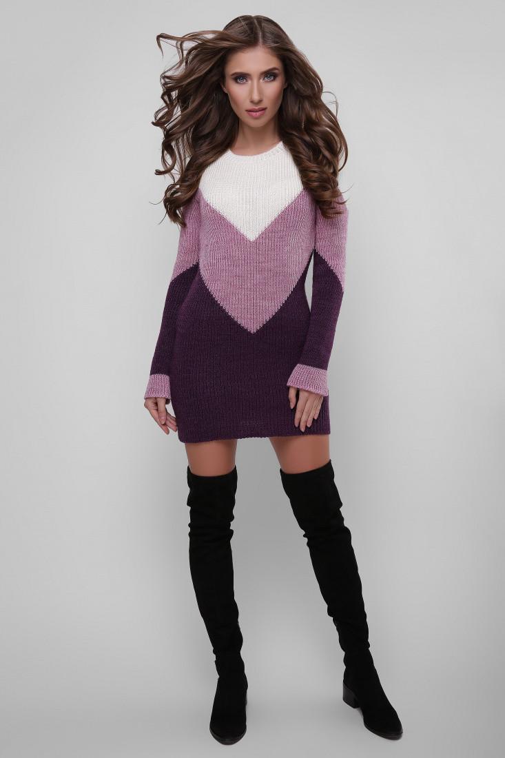 Красивое женское вязаное платье