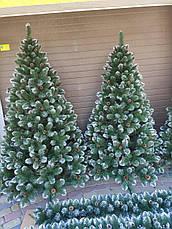 Элитная 1.8м с шишками елка зеленая заснеженная искусственная новогодняя ель праздничная декоративная, фото 3