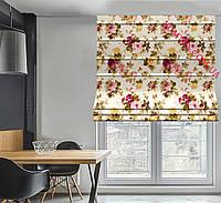 Римская штора ткань хлопок тефлон бордовые и розовые цветы на молочном фоне 170913v8 с доставкой