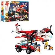 Конструктор 2805 пожарный самолет, джип, фигурки, 369 детали, в коробке