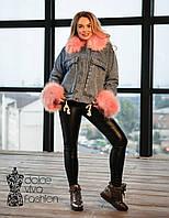 Женская джинсовая Куртка на меху, фото 1