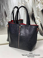 Женская сумка 4065 черный с красным купить женские сумки оптом от производителя в Украине, фото 1
