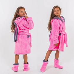 Халат махровый с сапожками для девочки теплый набор.