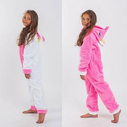 Кигуруми Единорог цельная пижама для девочки детская махровая теплая