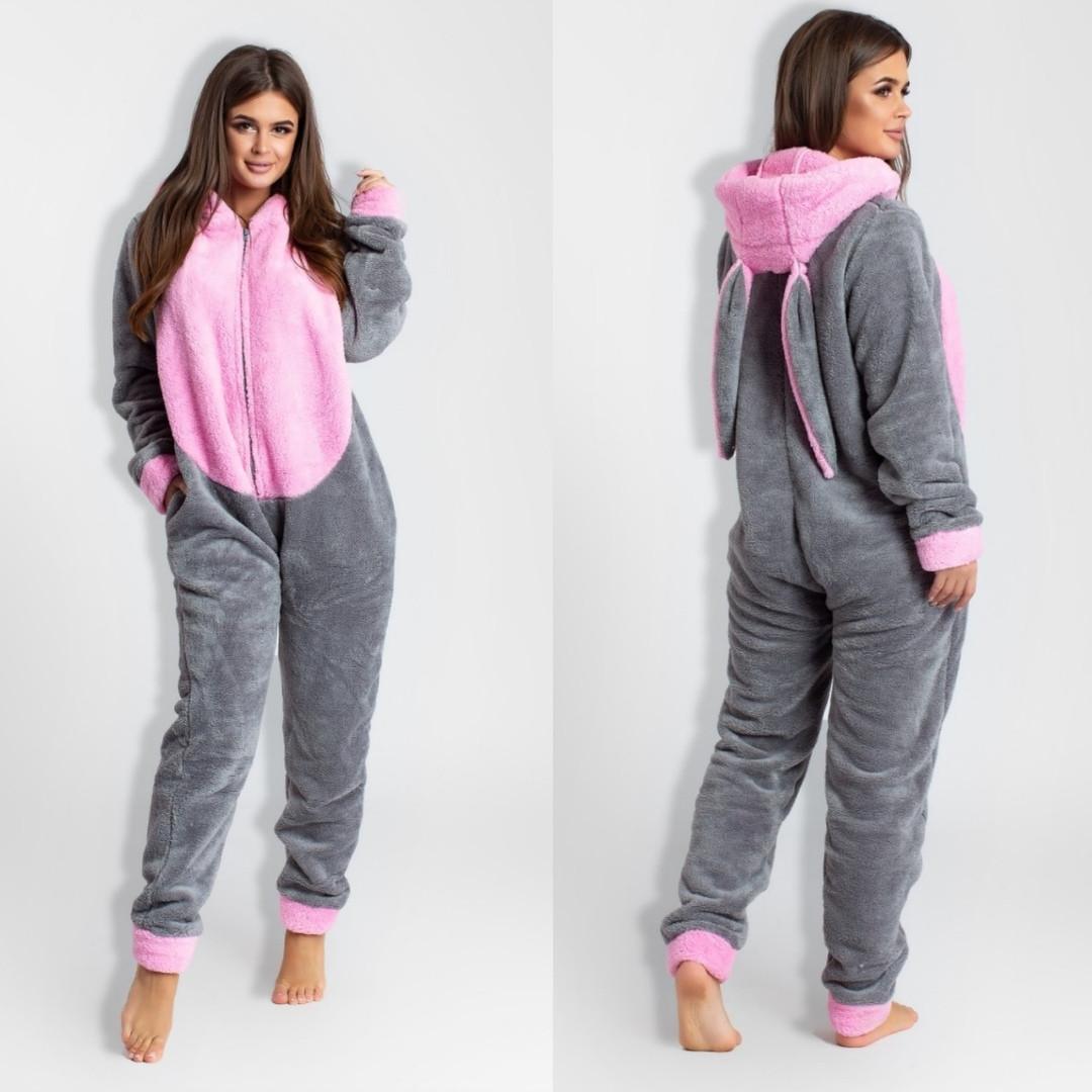 Кигуруми цельная пижама женская махровая с ушками