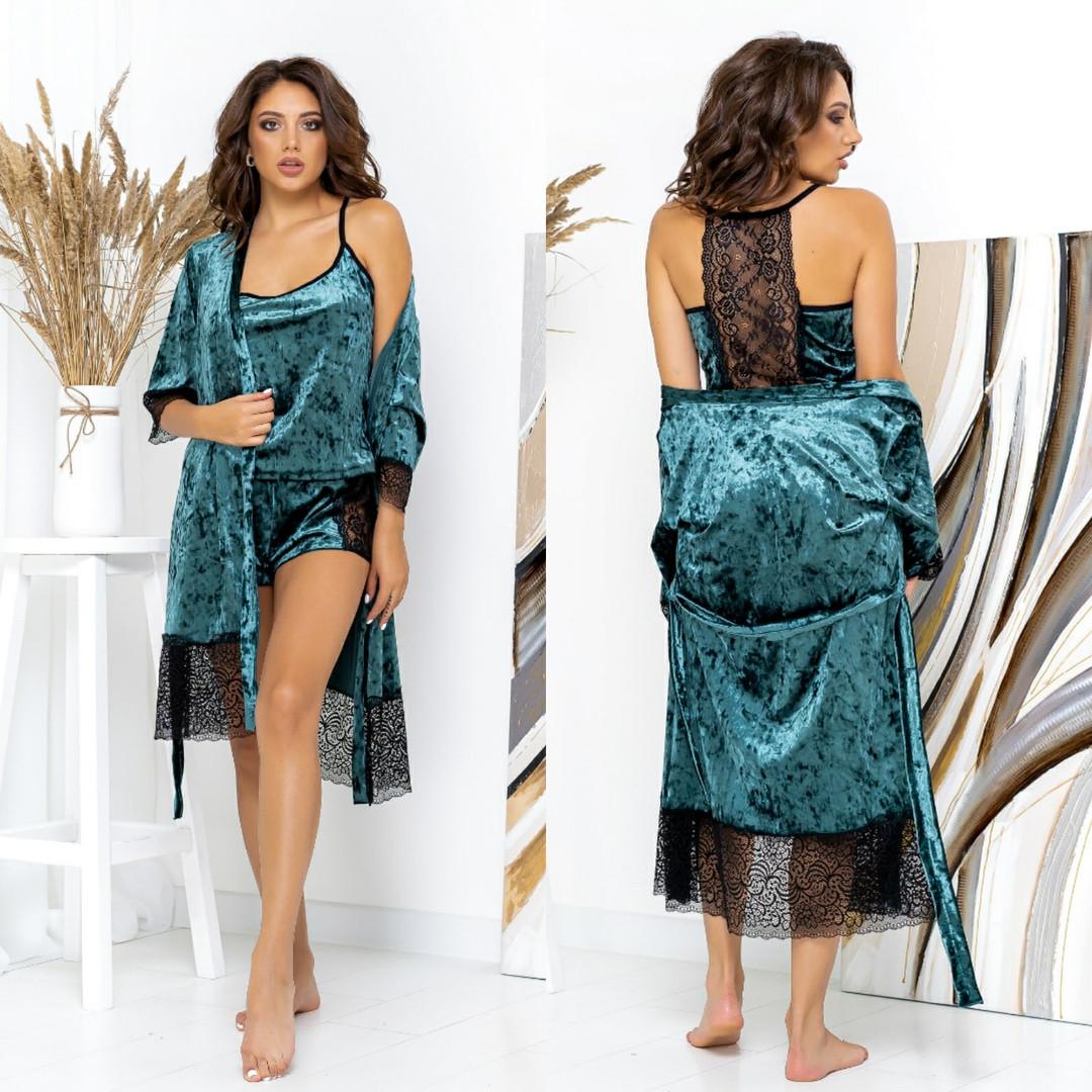 Женский комплект большие размеры халат+пижама шортами велюр